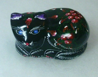 Wooden Lacquer Cat Figurine - Thailand