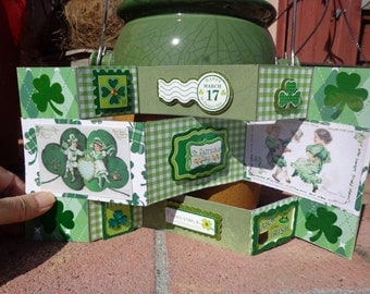 Hand made Tri-fold, self standing St. Patrick's Day card
