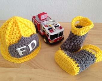 Baby Firefighter Fireman Hat & Boots, Photography Prop -  MADE TO ORDER
