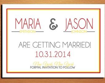 Modern Typography Fall / Autumn Wedding Save the Date PRINTABLE / DIY