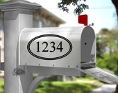 One mailbox frame with house numbers - Vinyl Wall Art
