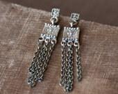 Chain Earrings - Long Mixed Metal Silver Brass Post Dangle Jewelry