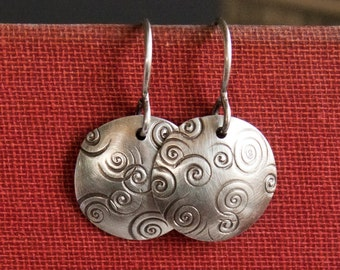 Silver Circle Earrings, Sterling Silver Spiral Earrings, Simple Sterling Silver Earrings, Oxidized Sterling Earrings