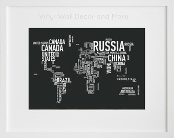 World Map- Tyography Print 8 by 10