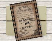 Steampunk Tandem Bicycle Wedding Invitation Suite: 5x7 Invitation, RSVP Card, Envelopes - AllisStudio