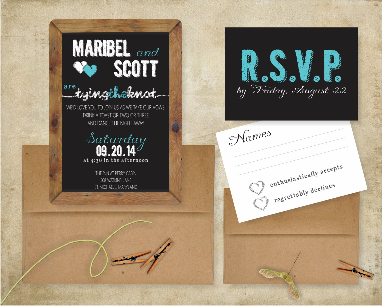 Chalkboard Wedding Invitations: Tying The Knot Chalkboard Rustic Wedding Invitation Suite: 5x7