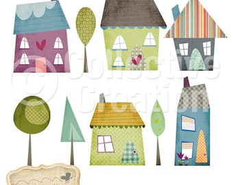 Little Houses Digital Clipart Set - Perfect for Scrapbooking, Card Making and Paper Crafts