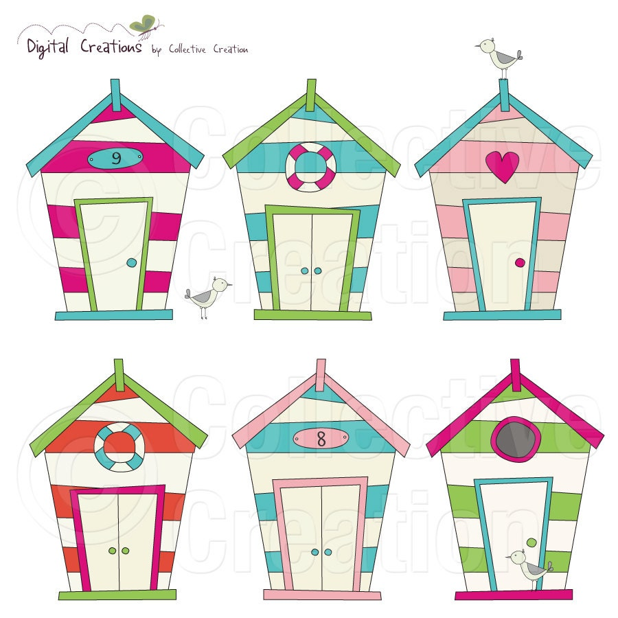 Beach House Digital Clip Art 2 Personal And By