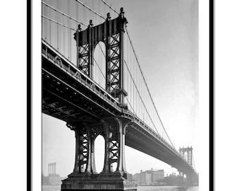 Vintage, Black and White, photography,Manhattan Bridge, New York , Fine Art print, New York photo, Vintage photo
