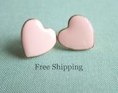 Blush Wedding Pink Earrings Soft Pink Heart Studs Rose Pink Light Pink Pale Pink Bridesmaids Earrings Gift - FREE SHIPPING