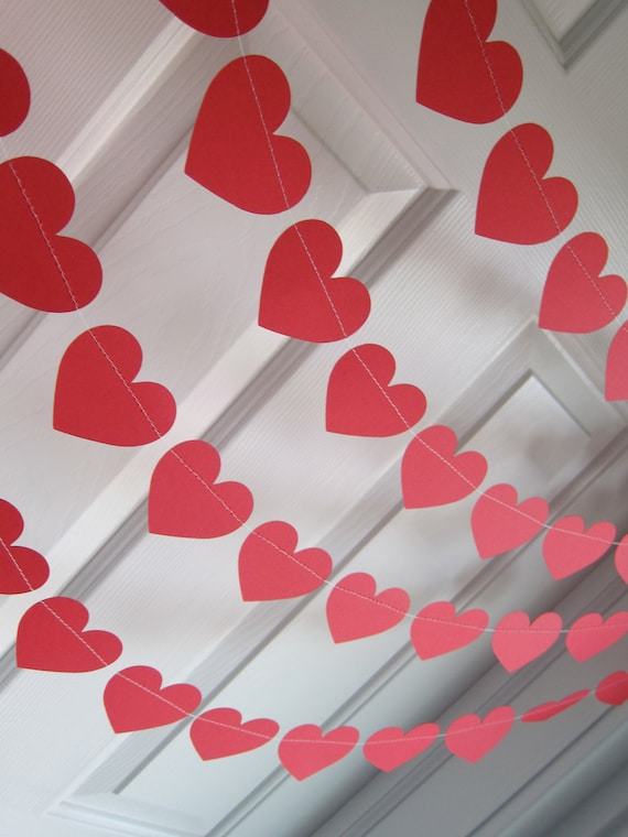 Items similar to Valentineu0027s Day Decorations, Red Hearts, Love Party  Decorations, Paper Garland, Heart Garland, Valentineu0027s Day Garland, Valentineu0027s  Day on ...