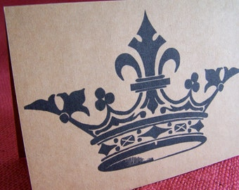 King or Queen For a Day Crown Birthday  Set of ANY 3 Note Cards Invitations printed on Kraft Cardstock with matching envelope 5 x 7""