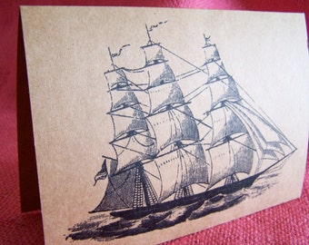 Windjammer Privateer Tall Sailing Ship  Set of ANY 3 Greeting Note Cards Invitations Kraft Cardstock matching envelopes 5 x 7""