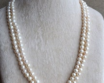 long pearl necklace, 46 inches 7-8mm Freshwater Pearl necklace,white Pearl Long Necklace wedding Pearl Necklace,statement necklace