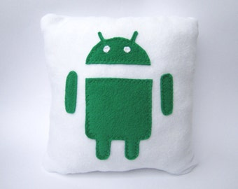 12 x 12 Handmade Android icon Pillow - Geekery White Pillow - Cojín android - Kissen android - Coussin android - Cuscino android