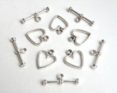 10 Simple heart toggle clasps antique silver 14x12mm DB24762