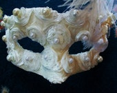Lace and pearls Masquerade Mask Ivory