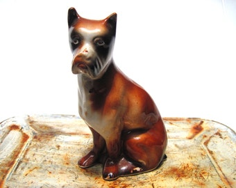 Vintage Boxer dog figurine brown and white