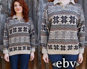 Snowflake Sweater Vintage Knit Vintage Jumper Vintage Sweater Vintage 80s Snowflake Knit Sweater Jumper S M L