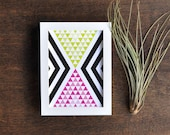 Colorful Geometric Artwork, Triangle Art Print, Green and Magenta, 5x7 Wall Decor