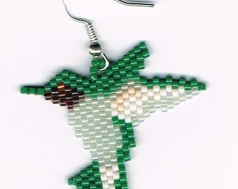 Hand Beaded Hummingbird Dangling earring  number 8