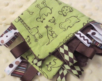 Muted Green Flannel with Brown Zoo Animals on Brown Minky Dot Ribbon Loop Blanket