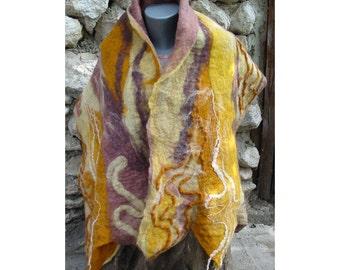 Felt String Scarf, AU Wool Scarf,Nuno Felt Wrap Shawl,Woman Shawl,Wool Shawl,European Art Deco,Nuno Felt Skarf,Amber Yellow Scarf,Handmade