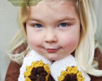 Crochet Pattern: The Josie Mitts -Toddler, Child, & Adult Sizes- sunflower, mustard yellow, spring, fingerless