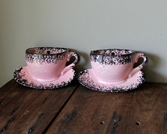 Pink Wall Pockets Kitchen Decor Vase Antique Vintage Coffee Cups Black Ceramic Retro Hanging Planter