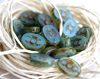 Czech glass beads oval Blue Green Picasso, flat, 3 dot, chunky, table cut - 14x10mm - 10Pc - 507