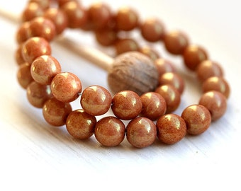 Caramel brown Czech glass beads rounds, 6mm druk, spacers - 30Pc - 535