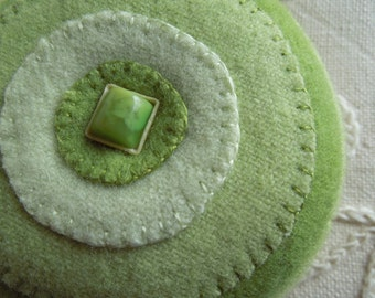 Pincushion --  Greens  -- Felted Wool - Vintage Celluloid Button