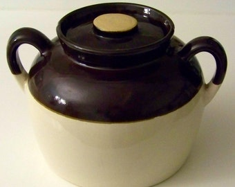 Antique Large Bean Pot / Brown and Beige / From 1950's / Made in the U.S.A. / Cookie Jar / Kitchen Stoneware