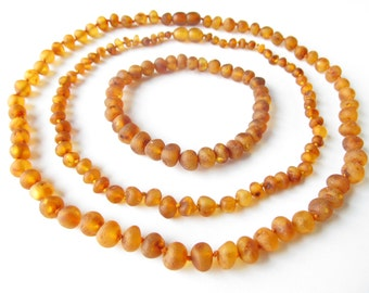 Baltic Amber Baby Teething Set for Baby and Mommy, Raw Unpolished Cognac Color Beads