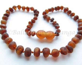 Baltic Amber Teething Necklace, Raw Unpolished Darker Cognac Color Beads