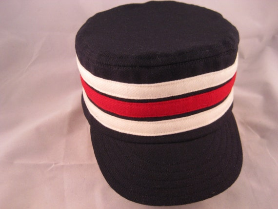 Box cap / Pillbox cap, soft wool flannel with supple leather sweatband, size 7 1/4, other sizes available.