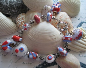 lampwork bracelet with art deco design beads and sterling silver bali toggle, and s/s spacers