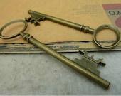 5 pcs 83x25mm Large Antique Bronze Vintage Brass Huge 3D Keys Metal Charms Pendants fc92370