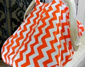 Cool 100% Cotton Baby Car Seat Canopy Cover Orange Chevron (fitted), FREE MONOGRAMMING
