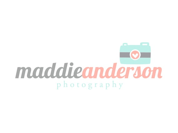 Premade Logo and Watermark for Photographers and Small Crafty Boutiques Aqua and Coral Camera