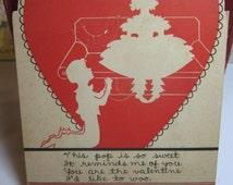 Vintage 1940's die cut  E. Rosen novelty  lollipop valentine greeting card silhouette of crinoline girl and boy kneeling inside red heart
