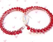 Red Hot Beaded Hoop Earrings
