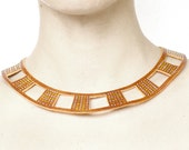TRIBAL LEATHER COLLAR -  reversible chocker, yellow and white, circle necklace n.1