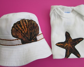 Infant beach set includes sun hat and tshirt