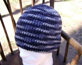 Crochet Hat  Beanie Skullcap Grays Men Women Teen
