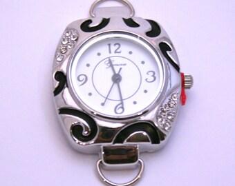 Silver Zebra Rhinestone Watch Face