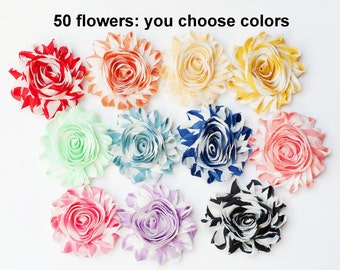 Striped Shabby Flowers - Wholesale Fabric Flowers - You Choose 50 Fabric Flowers - Chiffon Flower Rosettes - Flower Trim - Wholesale Flowers