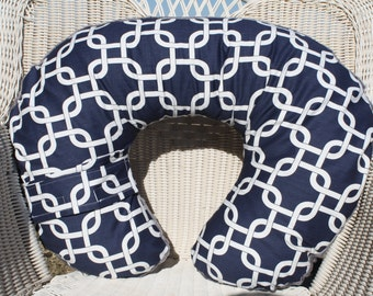 Navy Gotcha and Minky Boppy Cover