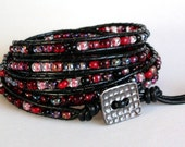 Vampire Kisses - Black and Red 5x Leather Wrap Bracelet
