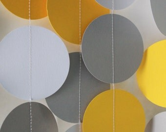 Party Paper Garland, yellow gray & white, birthday party decoration, party decor 5ft long